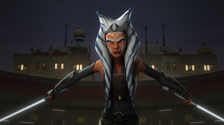 Ahsoka puts her lightsabers to good use on Star Wars Rebels (Image credit: Lucasfilm Animation/Disney XD)