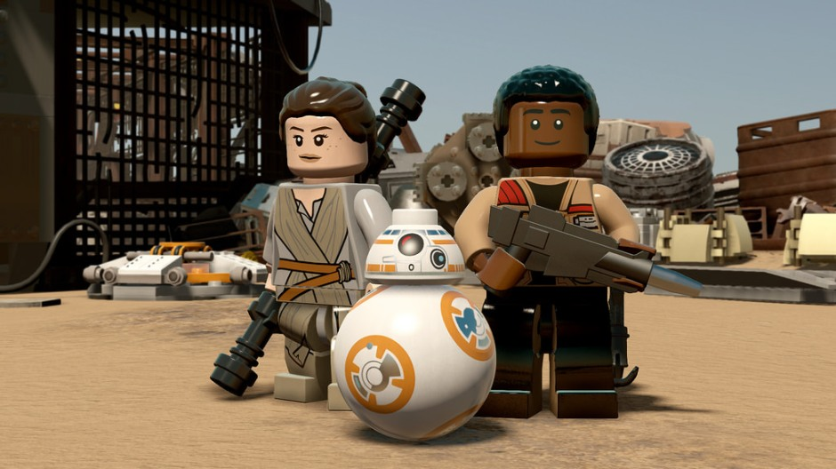Rey, Finn, and BB-8 as seen in the game, LEGO Star Wars: The Force Awakens