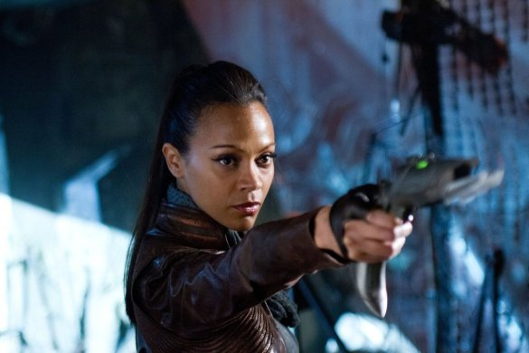 Zoe Saldana as Lt. Uhura in Star Trek: Into Darkness