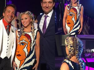 Ashley Eckstein wearing a Lego Ahsoka Tano dress by Nathan Sawaya and Andrew MacLaine