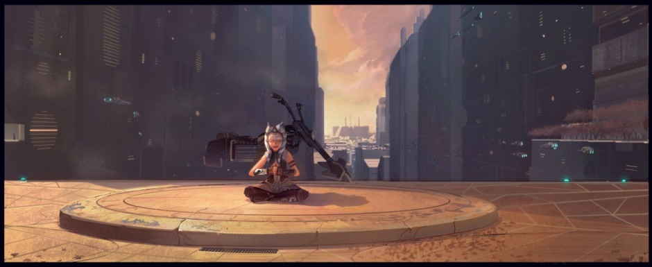 Concept art of Ahsoka Tano meditating in a park on Coruscant (Image credit: Tara Rueping)