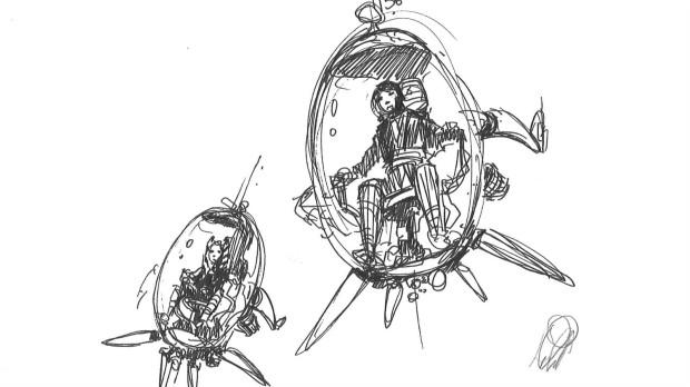 Ahsoka and Anakin explore the lower levels of Coruscant (Image credit: Dave Filoni)