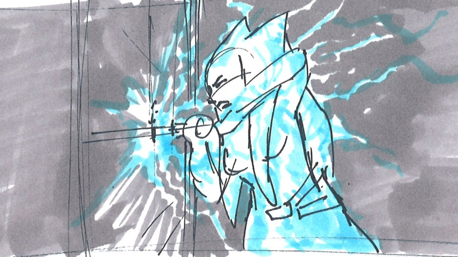 Ahsoka being attacked by Sidious's Force lightning (Image credit: Dave Filoni)