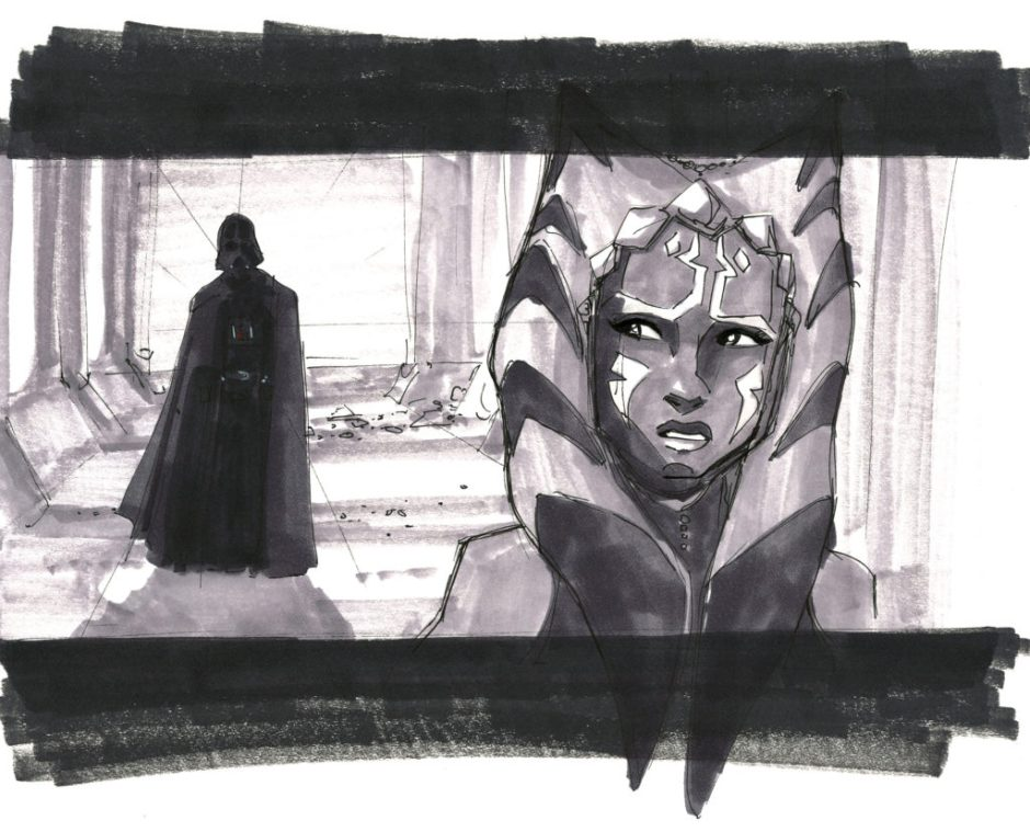 Concept art of the Vader/Ahsoka confrontation, sketched by Dave Filoni during production of The Clone Wars (Image credit: Dave Filoni & StarWars.Com)