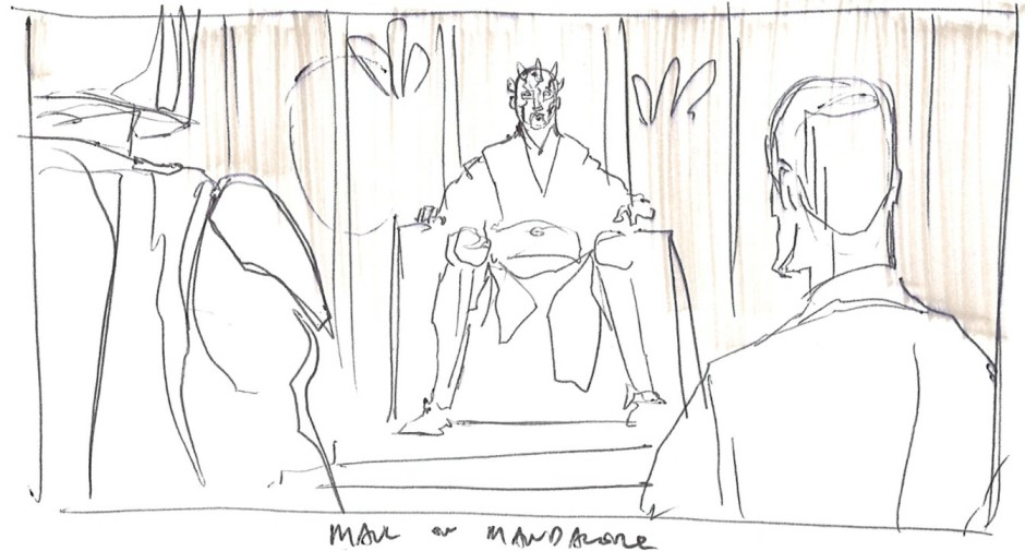 Maul on the Mandalorian throne (Image credit: Dave Filoni)