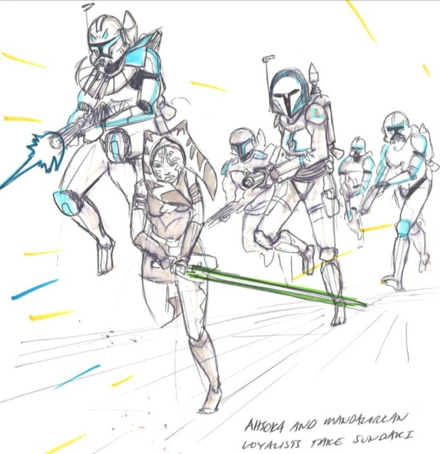 Ahsoka leading the charge to take back the Mandalorian capital, Sundari (Image credit: Dave Filoni)