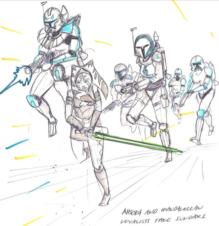 Ahsoka leading the charge to take back the Mandalorian capital, Sundari (Image credit: Dave Filoni)