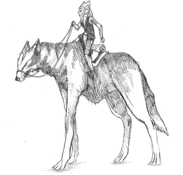 Ahsoka riding on the back of a giant space wolf (Image credit: Dave Filoni)
