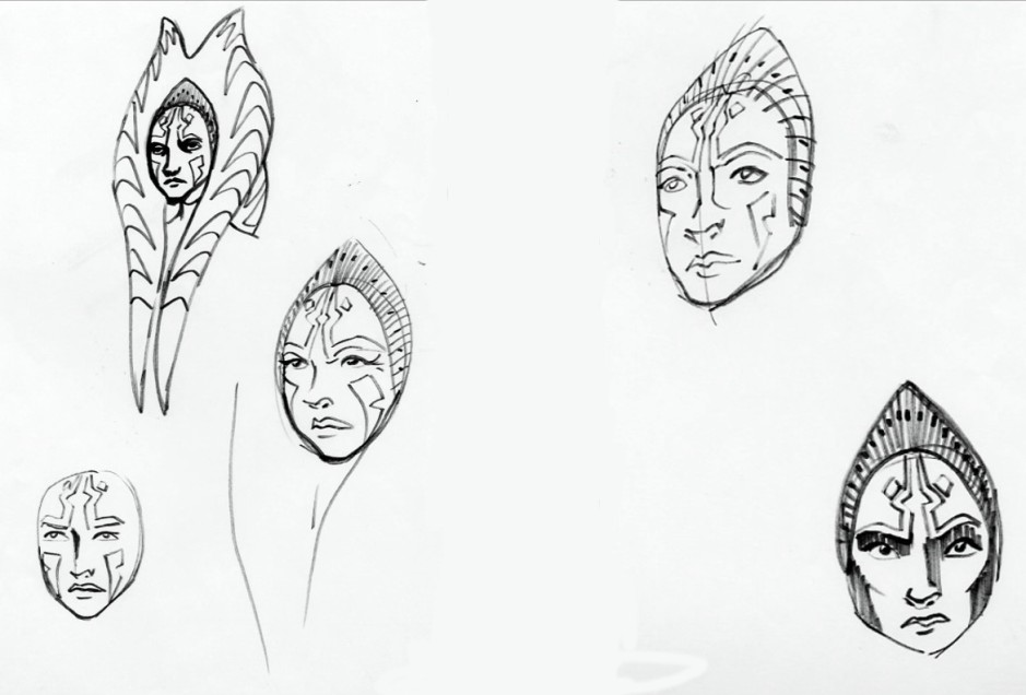 Some of Filoni's sketches of an older Ahsoka Tano (Image credit: Dave Filoni)