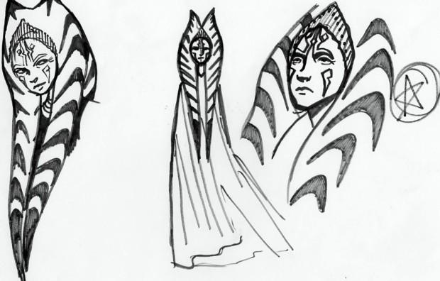 More sketches of an older Ahsoka Tano (Image credit: Dave Filoni)