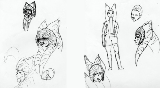 Sketches of Ahsoka wearing a variety of helmets (Image credit: Dave Filoni)