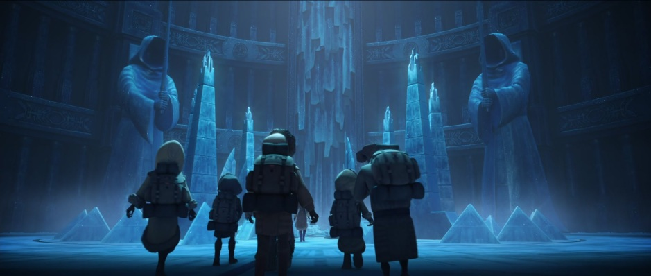 Ahsoka and the Jedi younglings in the Ilum ice caves (Image credit: Cap-That)