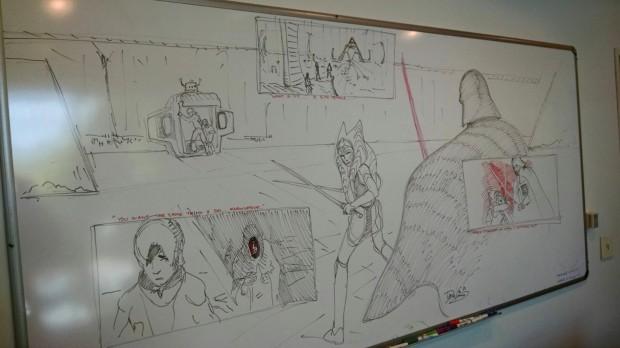 Filoni's sketches on a Burbank whiteboard (Image credit: Pablo Hidalgo)