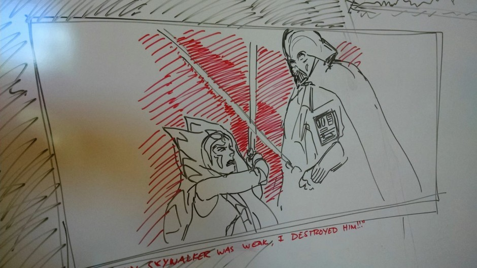 Filoni's sketches on a Burbank whiteboard (Image credit: Pablo Hidalgo)