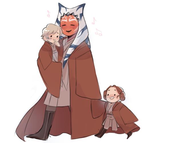 Ahsoka and the Skywalker twins (Image credit: Airinn)