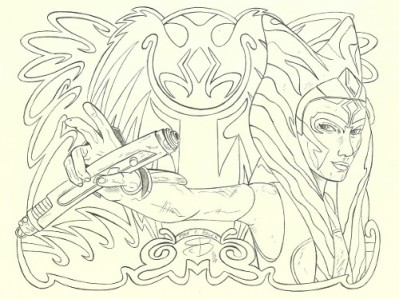 ahsoka tano colouring page by ryan brock