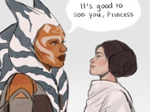 Togrutan's sketch of Ahsoka Tano meeting a young Princess Leia