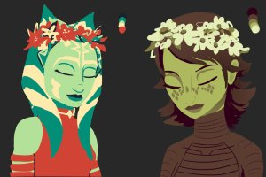 'Limited Color Meme - Ahsoka & Barriss' by Raikoh-illust