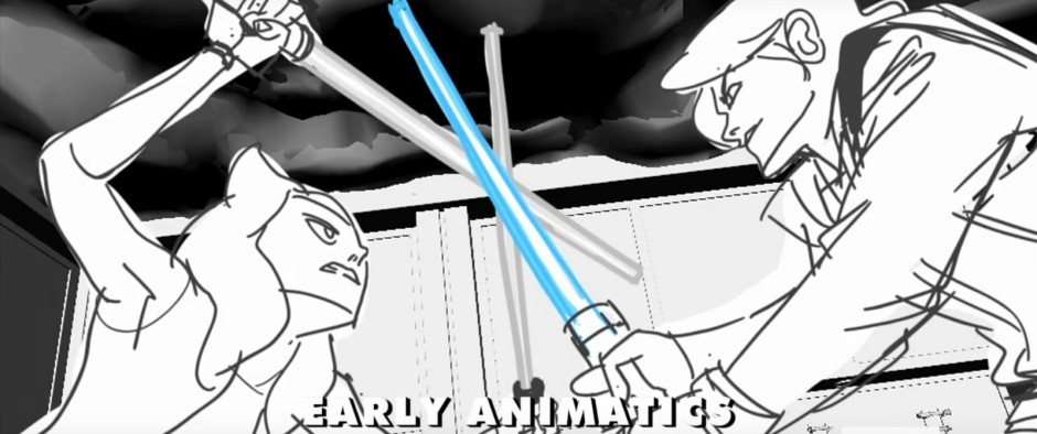 Ahsoka and Anakin as seen in an early animatic sequence for Star Wars: Forces of Destiny