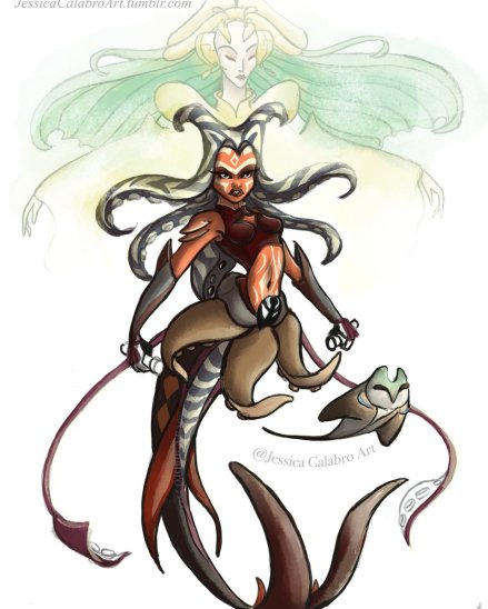 Ahsoka Tano, the Daughter of Mortis, and a convor in aquatic form (Image credit: Jessica Calabro)