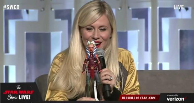 Ashley Eckstein with the Ahsoka Tano adventure figure at Star Wars Celebration Orlando