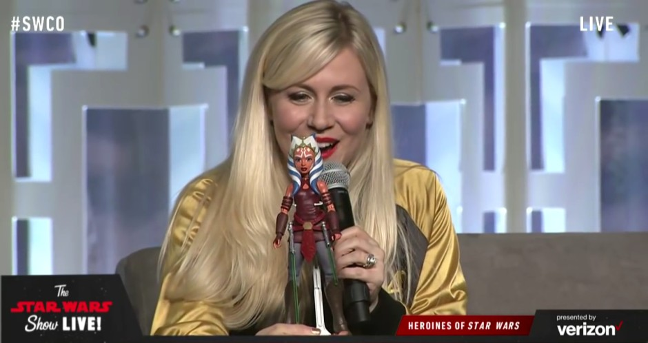Ashley Eckstein with the Ahsoka Tano adventure figure at Star Wars Celebration Orlando