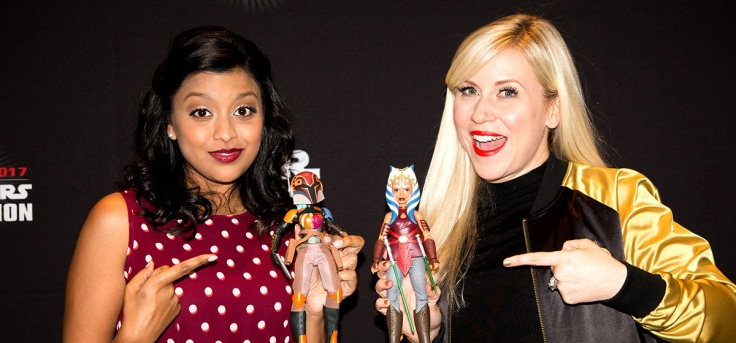 Tiya Sircar and Ashley Eckstein pose with their Sabine and Ahsoka figures (Image credit: Disney & Lucasfilm Ltd.)
