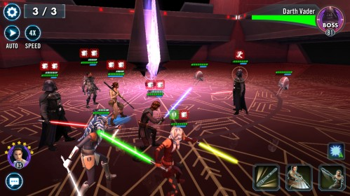 Fighting Darth Vader on Malachor in Star Wars: Galaxy of Heroes