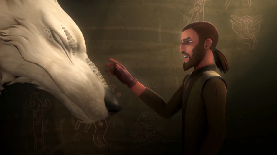 Kanan and the mysterious white wolf (as seen in the season 4 trailer)