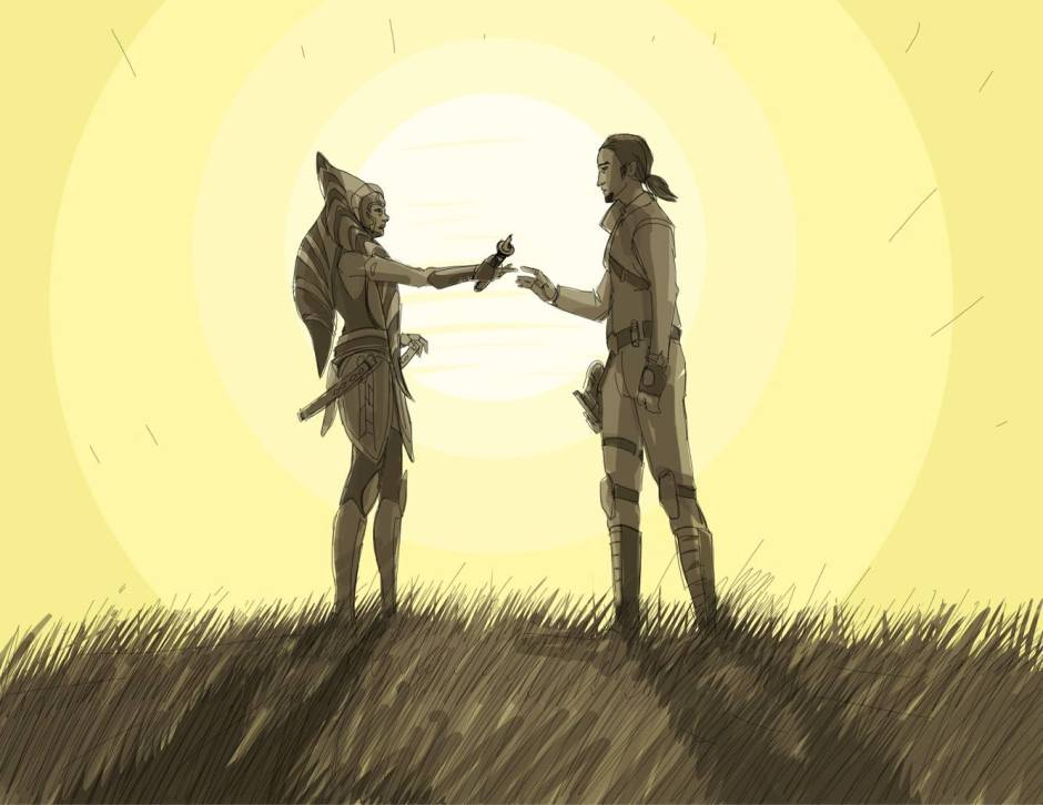Ahsoka Tano and Kanan Jarrus have a heart-to-heart talk (Image credit: Dave Filoni)