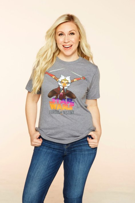 Ashley Eckstein models the new 'Forces of Destiny' Ahsoka Tano T-shirt