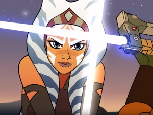 A screenshot from the Star Wars: Forces of Destiny episode 'A Disarming Lesson'