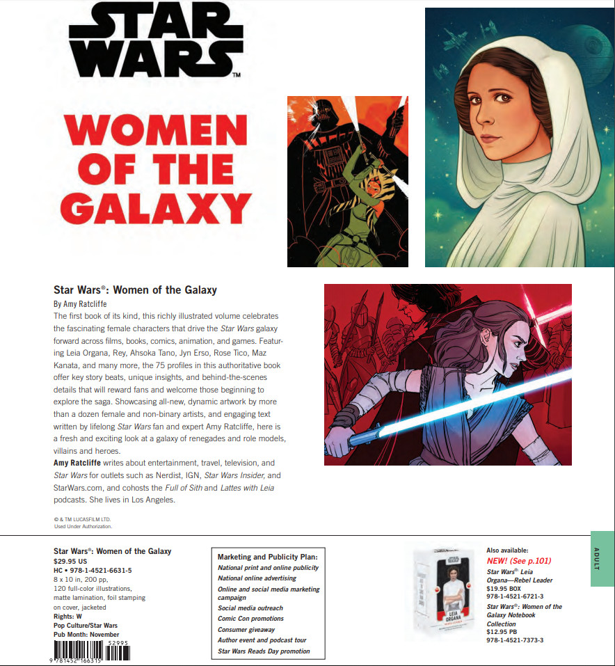 'Star Wars: Women of the Galaxy' information from Chronicle Books' Fall 2018 catalog