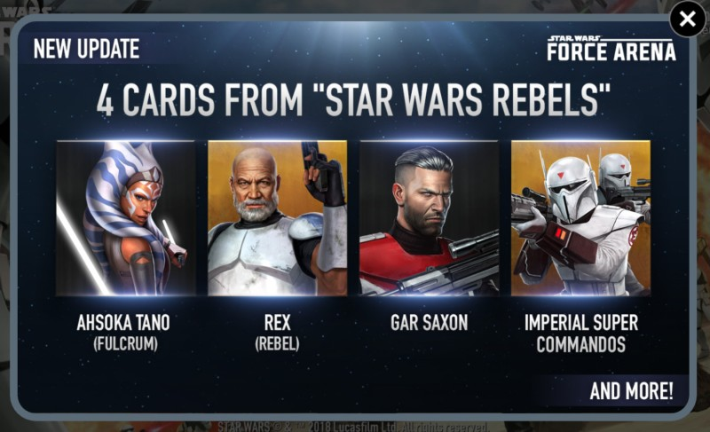 Ahsoka Tano (Fulcrum), Rex, Gar Saxon, and the Imperial Super Commandos are added to Star Wars: Force Arena
