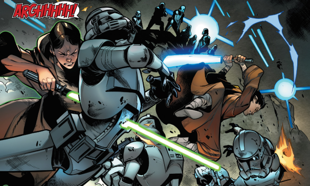 Caleb Dume and Depa Billaba fighting clone troopers during Order 66 (Image credit: Wookieepedia)