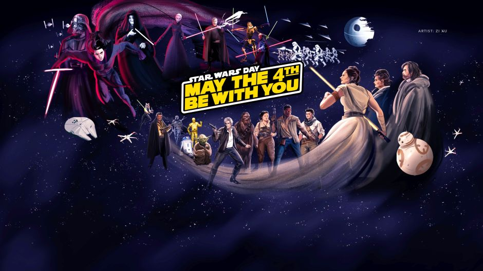 """Disney Plus """"May the 4th"""" Star Wars landing page mural by Zi Xu"""